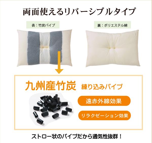 枕 ピロー 国産竹炭パイプ入り 『竹炭リバーシブル枕』 2個組 約43×63cm リバーシブルタイプ