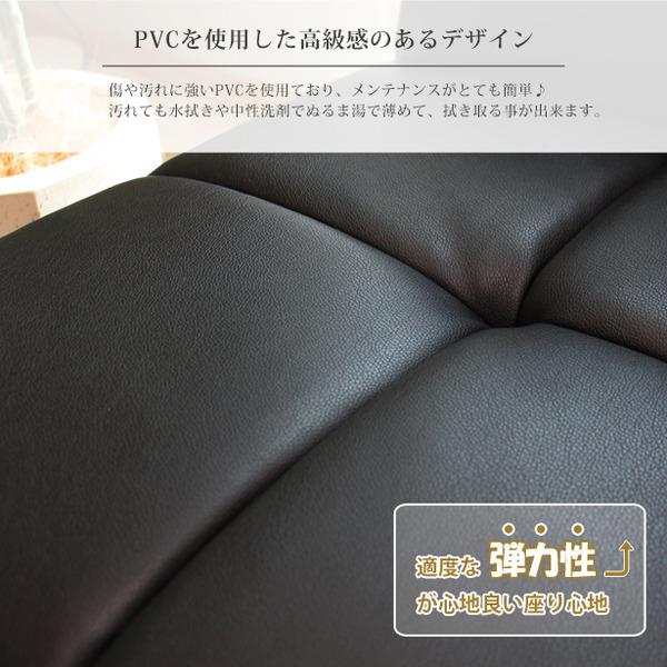 ソファーベッド 【3人掛け】 張地:合成皮革/合皮 肘付き ワイド仕様   ブラック(黒)