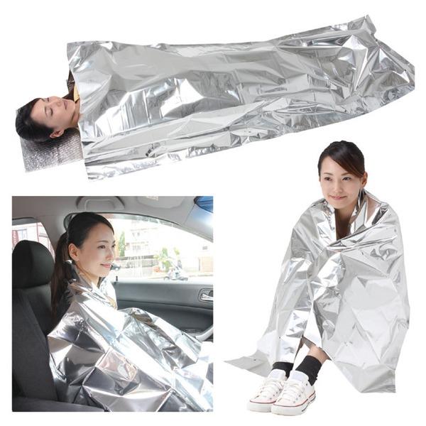 防寒シュラフ/寝袋 【専用枕付き】 アルミ蒸着...の説明画像4