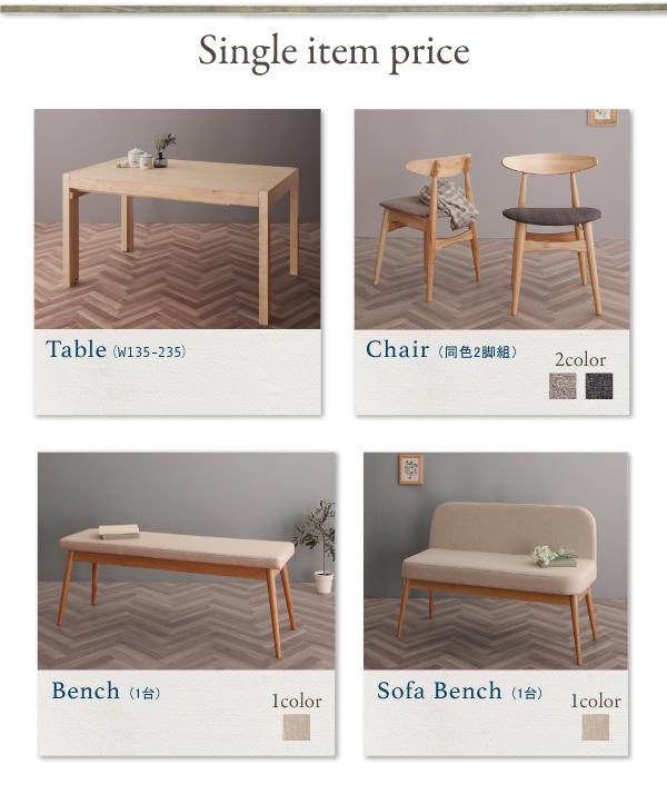 北欧デザイン伸長式ダイニングテーブル SORA ソラ 単品商品
