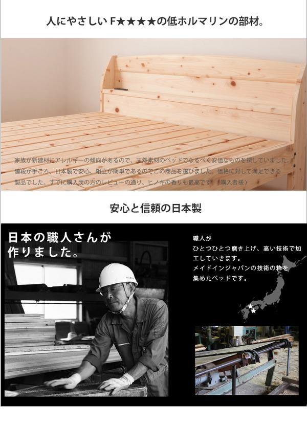 国産 宮付き ひのき すのこベッド(ベッドフレ...の説明画像4