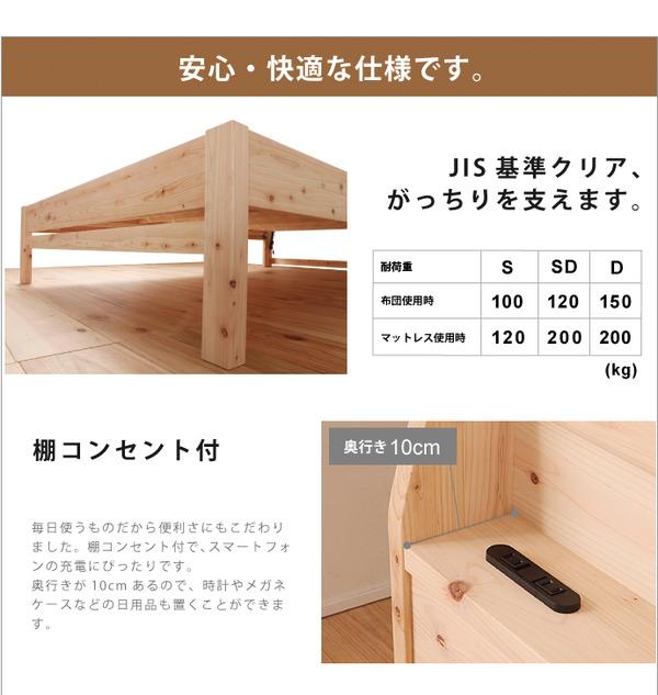 国産 宮付き ひのき すのこベッド(ベッドフレ...の説明画像6