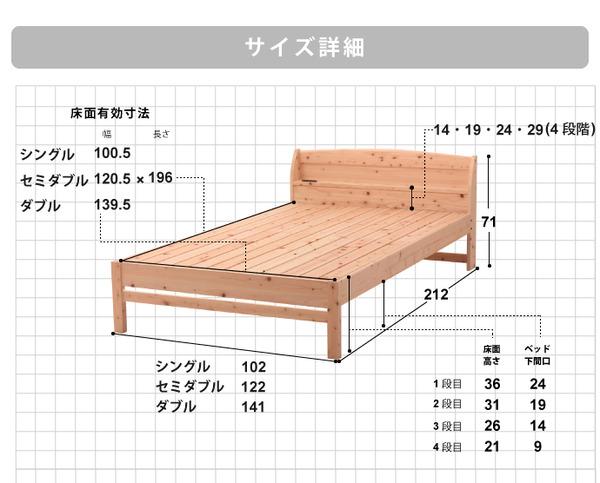 国産 宮付き ひのき すのこベッド(ベッドフ...の説明画像11