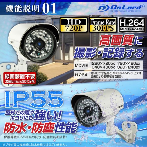 【監視カメラ】【SDカード防犯カメラ】【屋外赤外線暗視カメラ】 赤外線LED 64GB対応 防塵防水IP55相当 オンロード (OL-022W) 24時間常時録画 暗視撮影 簡単設置