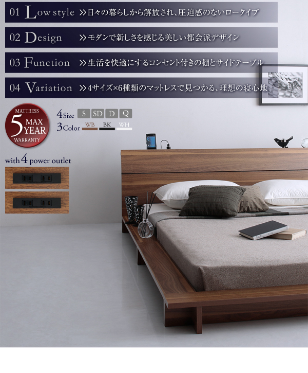 棚・4口コンセント付デザインフロアローベッド Douceデュース