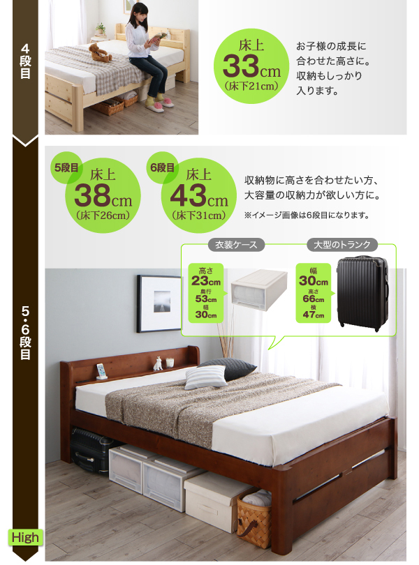 6段階高さ調節頑丈天然木すのこベッド ishurutoイシュルト