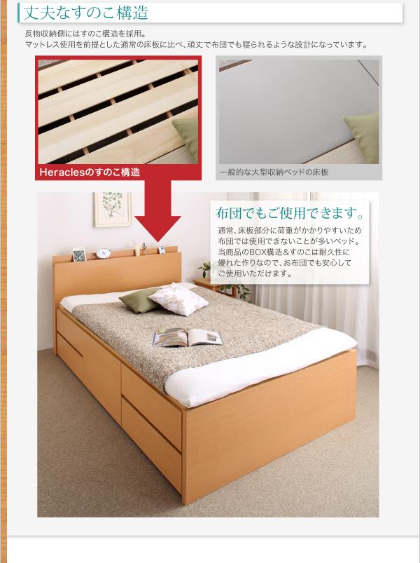 すのこベッド 長く使える棚・コンセント付国産頑丈チェスト収納ベッド Heracles ヘラクレス画像07