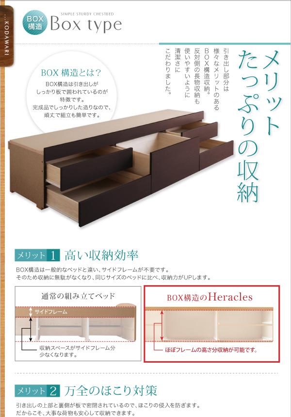 すのこベッド 長く使える棚・コンセント付国産頑丈チェスト収納ベッド Heracles ヘラクレス画像10