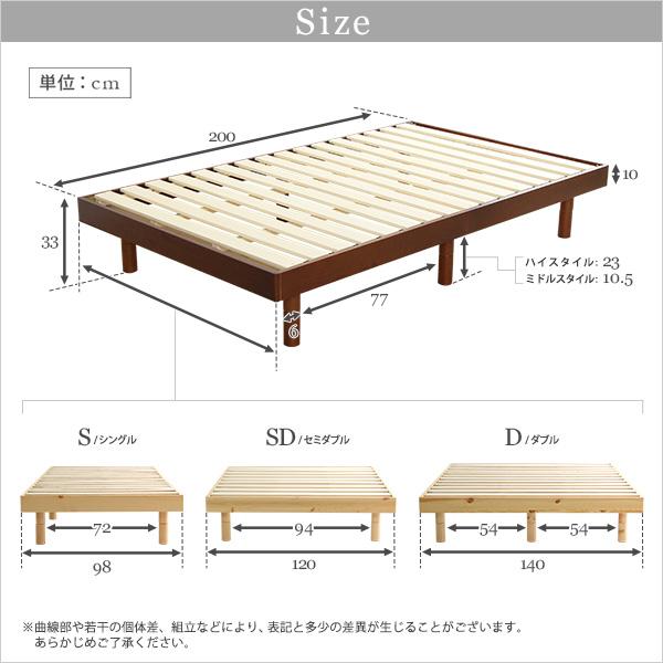 3段階高さ調整付き すのこベッド 木製 フレームのみ 赤松無垢材『Libure』ベッドフレーム画像02