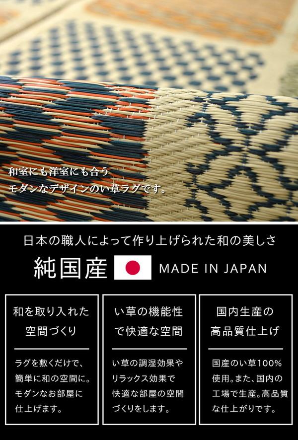 おすすめ!モダン ふっくら い草 ラグマット/絨毯 日本製 抗菌 防臭 調湿 裏面ウレタン『F市松和紋』画像02