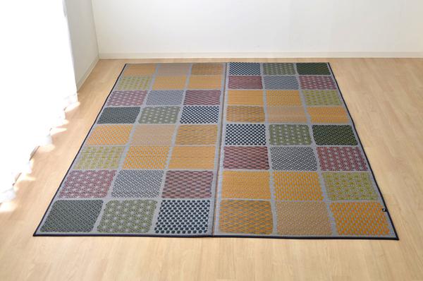 おすすめ!モダン ふっくら い草 ラグマット/絨毯 日本製 抗菌 防臭 調湿 裏面ウレタン『F市松和紋』画像09