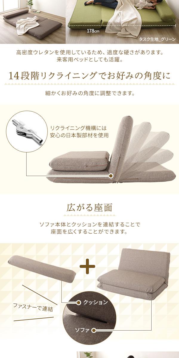 ソファーベッド/ローソファー 【タスク生地 グ...の説明画像3