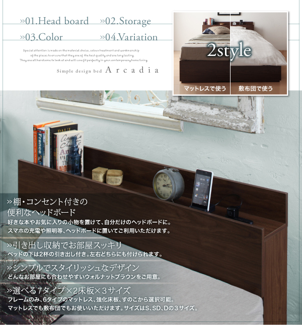 すのこ仕様/床板仕様が選べる 棚・コンセント付き収納ベッド Arcadia アーケディア画像02