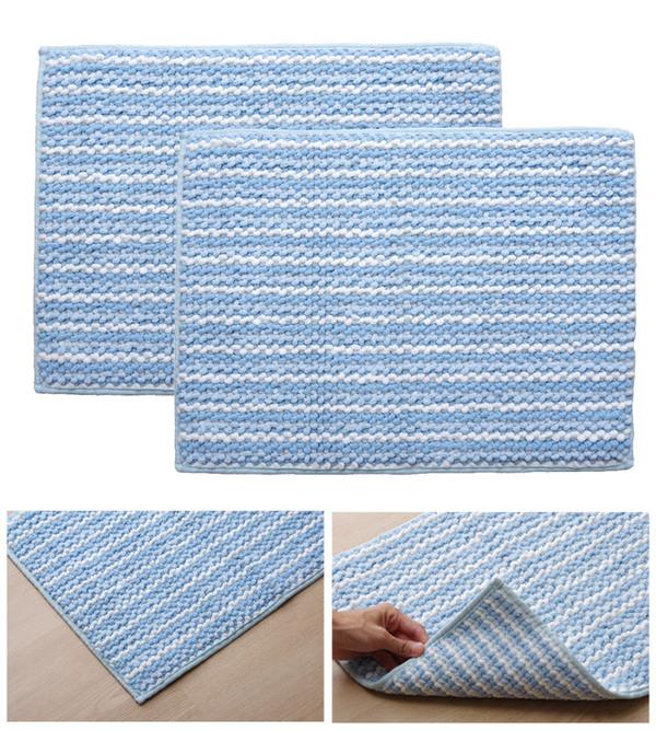 シンプル バスマット|フロアマット (ブルー) 2枚組 約50cm×75cm 洗える 高吸水性 防滑 〔風呂 脱衣所〕の商品説明