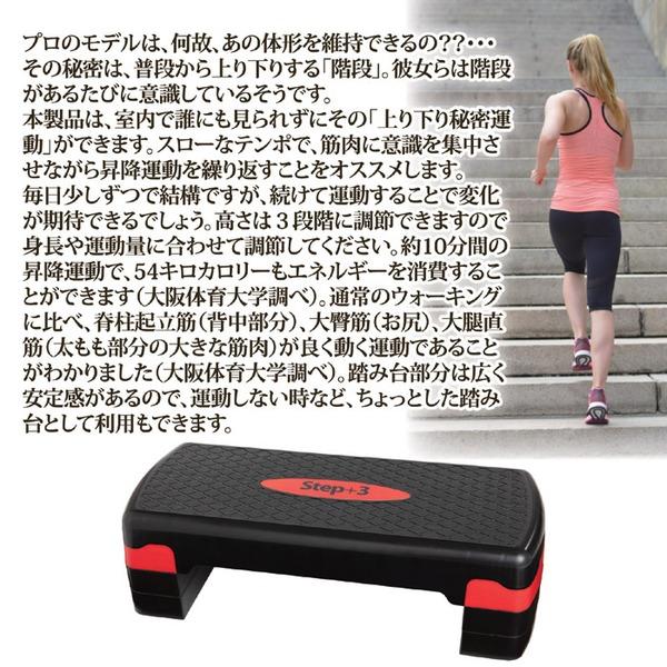 ステッププラススリー 昇降運動器具 (高さ3段階調節可) 幅68×奥行29cm 耐荷重:120kg 〔ボディケア 階段運動〕の商品説明