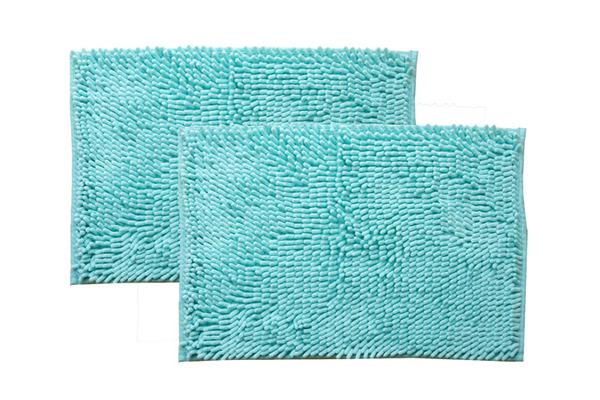 シンプル バスマット|フロアマット (ブルー 2枚組 約50×75cm) 長方形 洗える 吸水 速乾 防滑加工 無地の商品説明